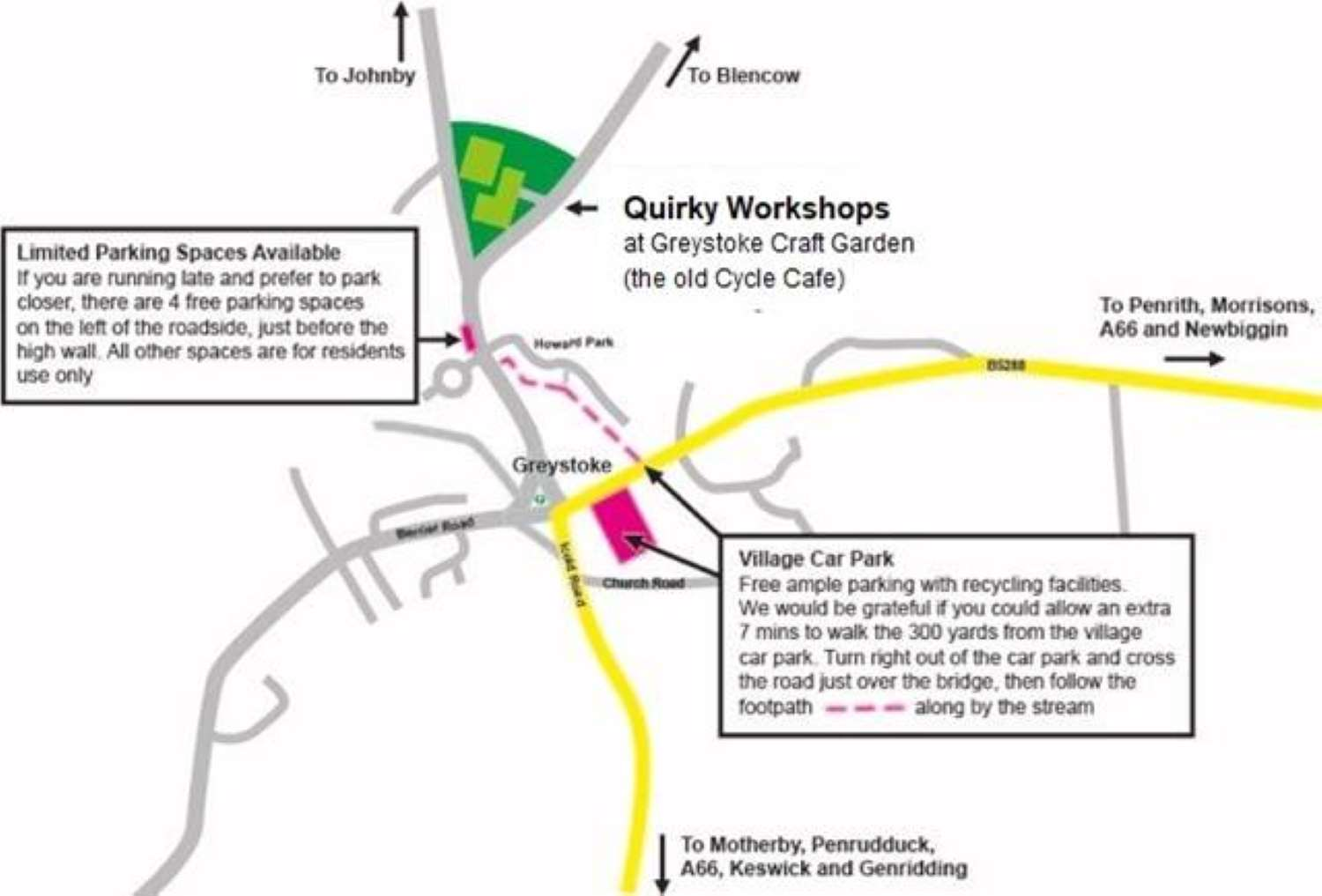 Quirky Workshops Parking Map